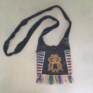 Handbags - Distressed Owl Fringe Crossbody Purse